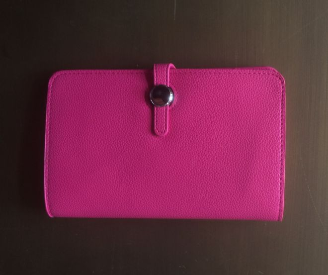 Faux Leather Dogon Style Wallet - Cerise